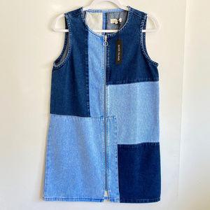 NWT River Island Patchwork Zip Through Denim Dress